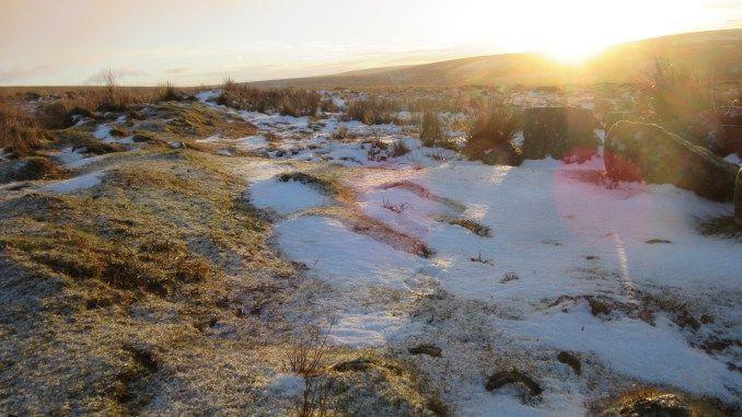 Stunning sunrise over snowy Dartmoor, walking the Abbots' Way in January Tavistock to Buckfastleigh