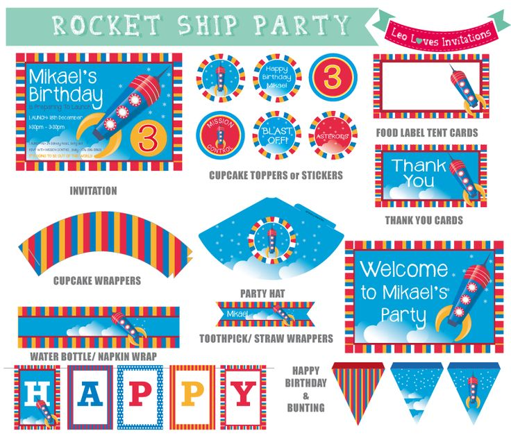 Leo Loves Invitations - Rocket Ship Party Printable Set Party Printables designed in Cape Town, South Africa  available at http://www.leolovesinvitations.co.za http://www.facebook.com/leolovesinvitations