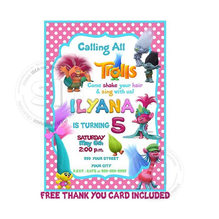 Custom Trolls Birthday Invitation With Free Thank You Card
