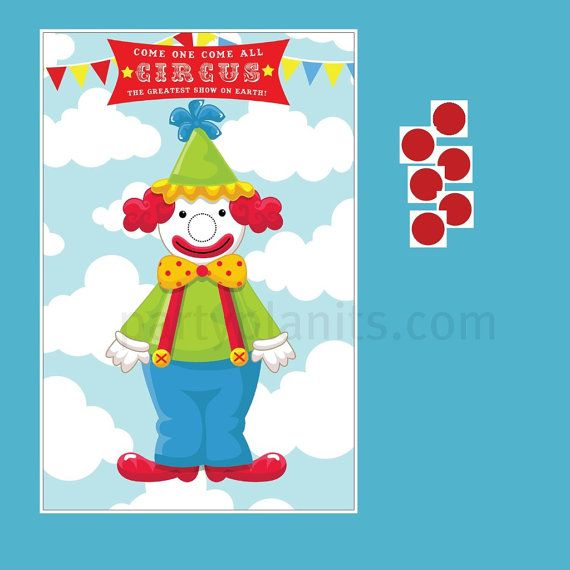 Carnival Circus Party Game Pin the Nose on the Clown on Etsy, $16.00