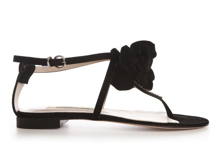 Gaia black suede flat sandals