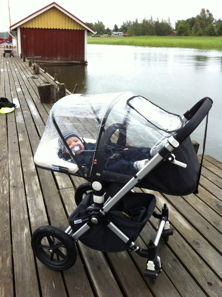 Rain cover canopy (came with older models) over seat in laid back position. Erno recommends: Rolling the streets of Helsinki with Bugaboo strollers. http://www.bugaboo.com/.