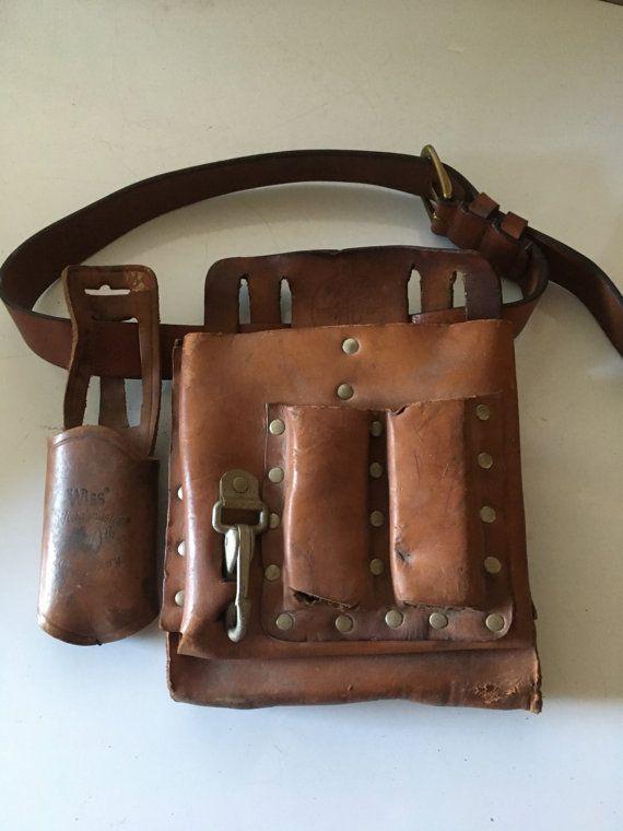 Tool Pouch Klein 5164 Wiss Holder Leather Lineman Carpenter Belt - Man Cave Decor - Photo Prop - Yard Art