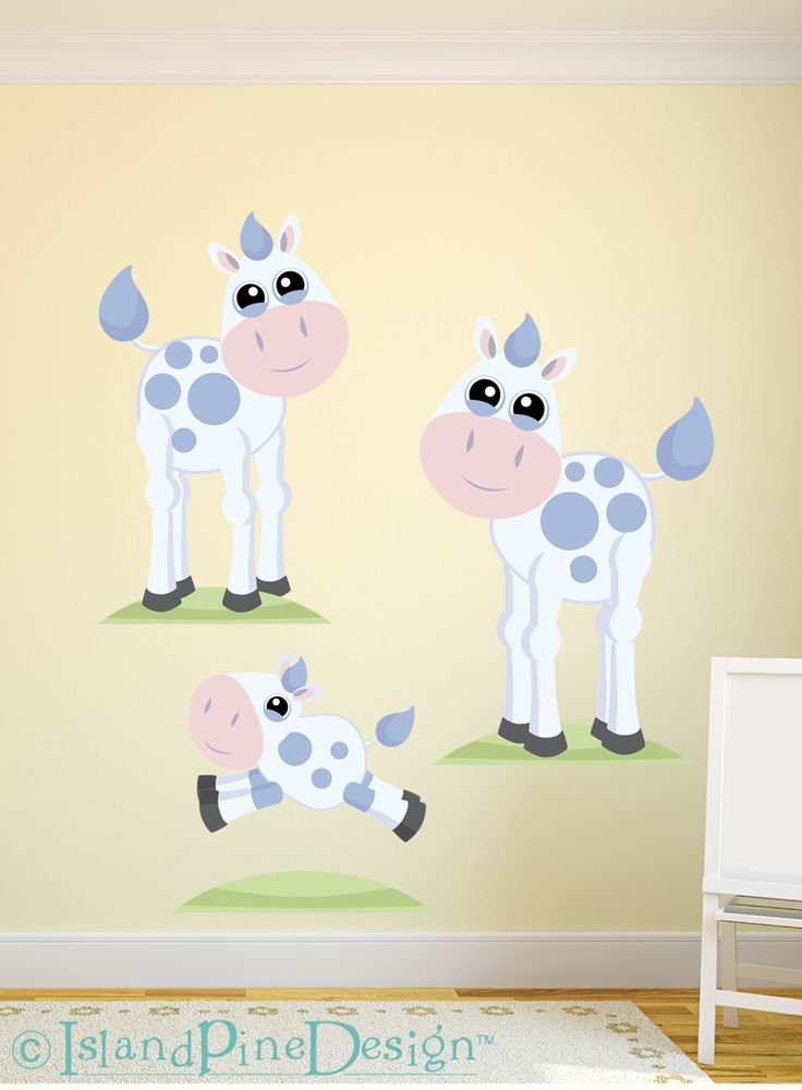 Cow Family | Non-toxic Posable Wall Art Decal Sticker Kit by Mixable Murals.  www.mixablemurals.com