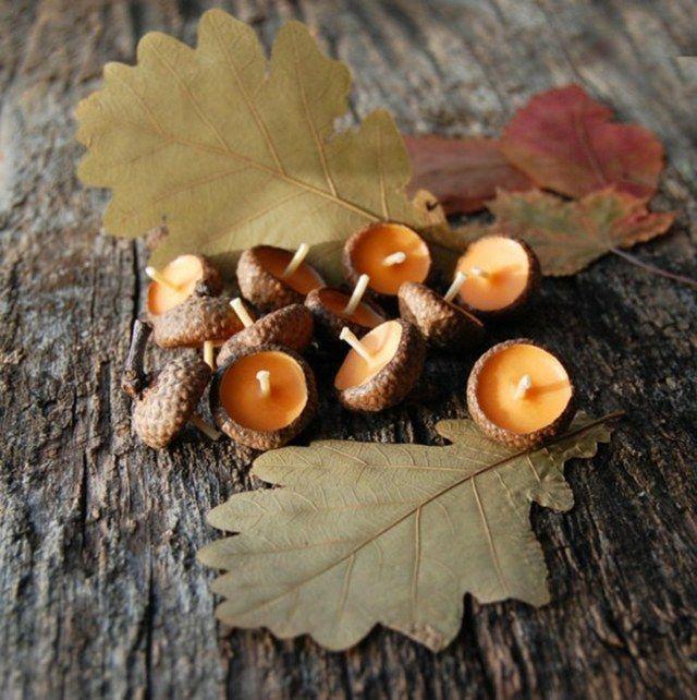 Herbst Deko Eichel kleine Teelichter Kerzen gießen