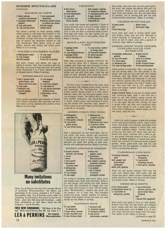 Woman's, Day, Magazine, August, 1965, Recipes, Lost & Found, 2016-11-14, Salmon In Aspic, Wilted Cucumber Slices, Mixed Bean Salad, Lea & Perrins, Advertisement; Crostini, Quick Lady Baltimore Cake, Green Onion Foo Yung, Sweet And Sour Shrimp, Saffron, Celery Rood Salad, Lemon Snow With Ginger Custard Sauce Kumquats, Parmesan Chicken, Herb Spaghetti