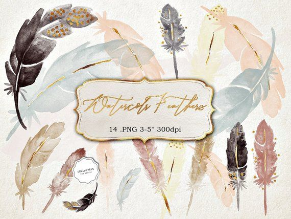 watercolor feathers clipart - boho