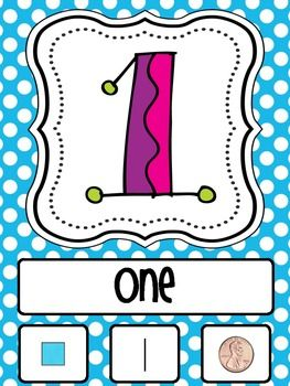 Number Posters from 1-20 including the number word, tally marks, coin value and unifix cubes.