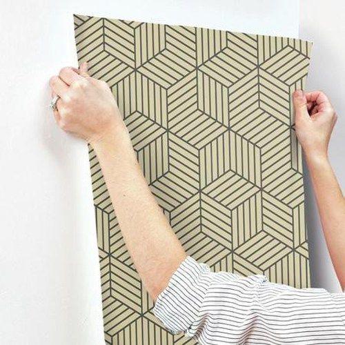 Striped Hexagon Peel And Stick Wallpaper Single Roll Peel And Stick Wallpaper Hexagon
