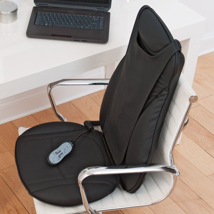 Heated back massager for chair ... I definitely NEED this!!Shiatsu Seats, I Ne Shiatsu, Gift Ideas, Ines Shiatsu, Attached Easily, Shiatsu Massage, Seats Toppers, Offices Chairs, Heat