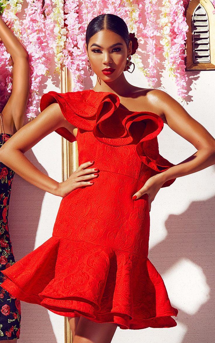 Red Jacquard One Shoulder Frill Drop Hem Dress