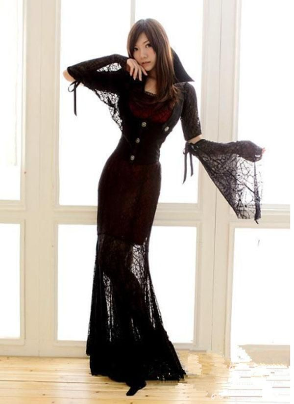 Vintage Victorian Corset Black Gothic Prom Dresses With Lace Long Sleeve Winter Punk Women'S Cosplay Costume Dorothy Halloween Costume Toddler Costume From Chitola, $33.41  Dhgate.Com