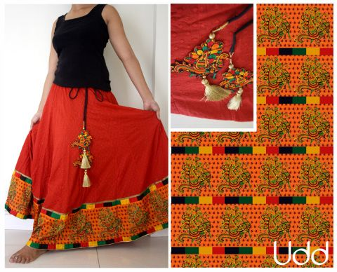 red skirt with kalamkari bird border