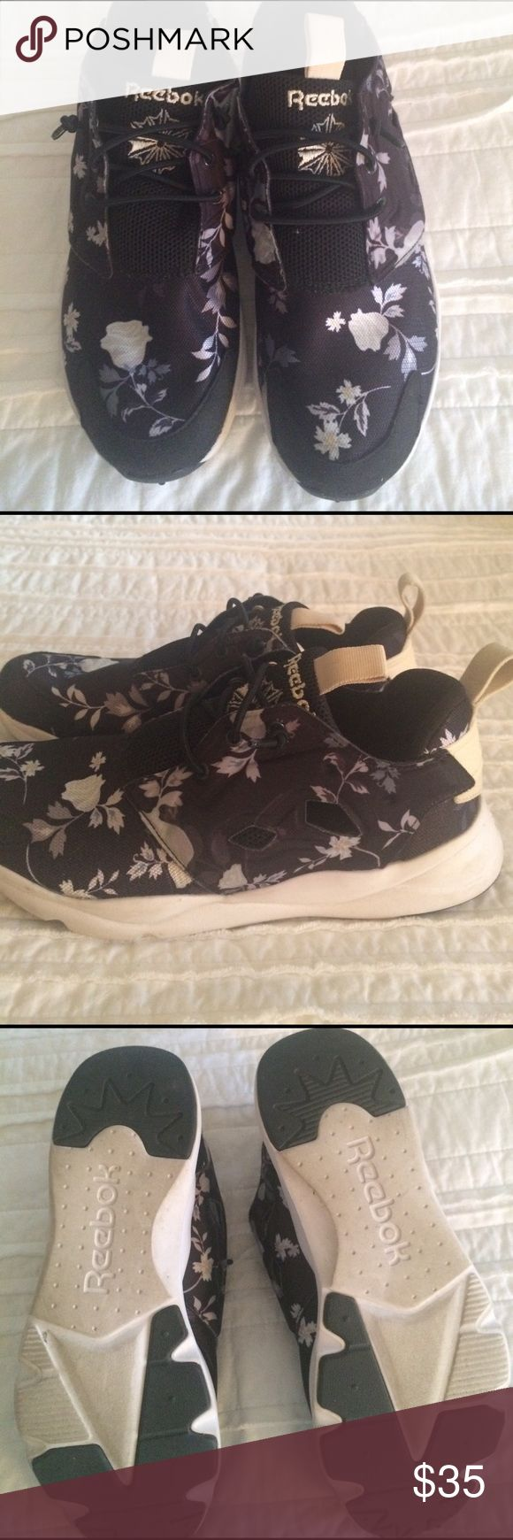 Reebok FuryLite Printed Sneaker Put some fashion in your step with this floral prints ultra lite running shoe . Nylon mesh and cut out for comfort . Pull on style with cord laces . Hardly worn ! Reebok Shoes Sneakers