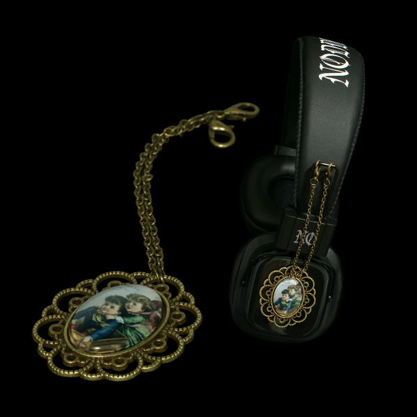 Headphones with attachable pendants --  http://noddders.com/product/vintage-pendant-headphones/  ---- #subculture #victorian #steampunk #retro #vintage #comics #cartoon #characters #alternative #underground #collection #collectibles #style #stylish #cute #couple #anime #music #headphones #pendants