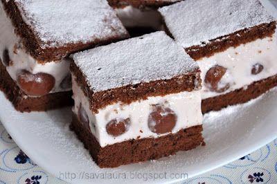 Prajitura usoara cu iaurt, frisca si cirese | Retete culinare cu Laura Sava - Cele mai bune retete pentru intreaga familie