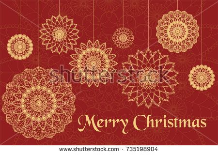 Christmas card with beautiful mandala, red and gold colors.