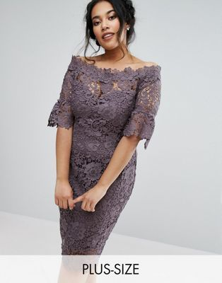cf04861768ba Paper Dolls Plus bardot crochet dress with fluted sleeve in charcoal