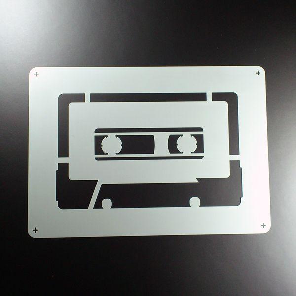 A5 Schablone Kassette Cassette Mixtape Retro BE539 von ShirtFact auf DaWanda.com
