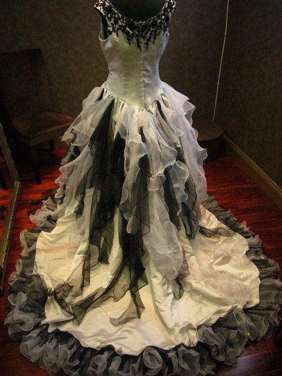 Sensational Silver and Black Wedding Dress by WeddingDressFantasy