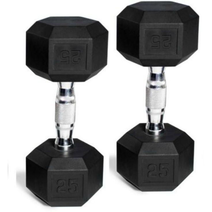 Rubber-Coated Dumbbell Set Hex Black Head 25 lbs Pair (50 Lbs Total) CAP Barbell #CAPBarbell