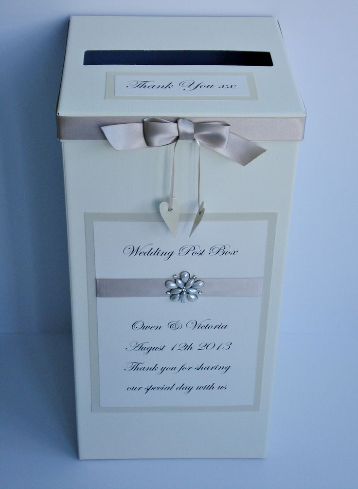 Mocha crystal and pearl wedding Post Box £25.00  www.beadazzledesigns.co.uk