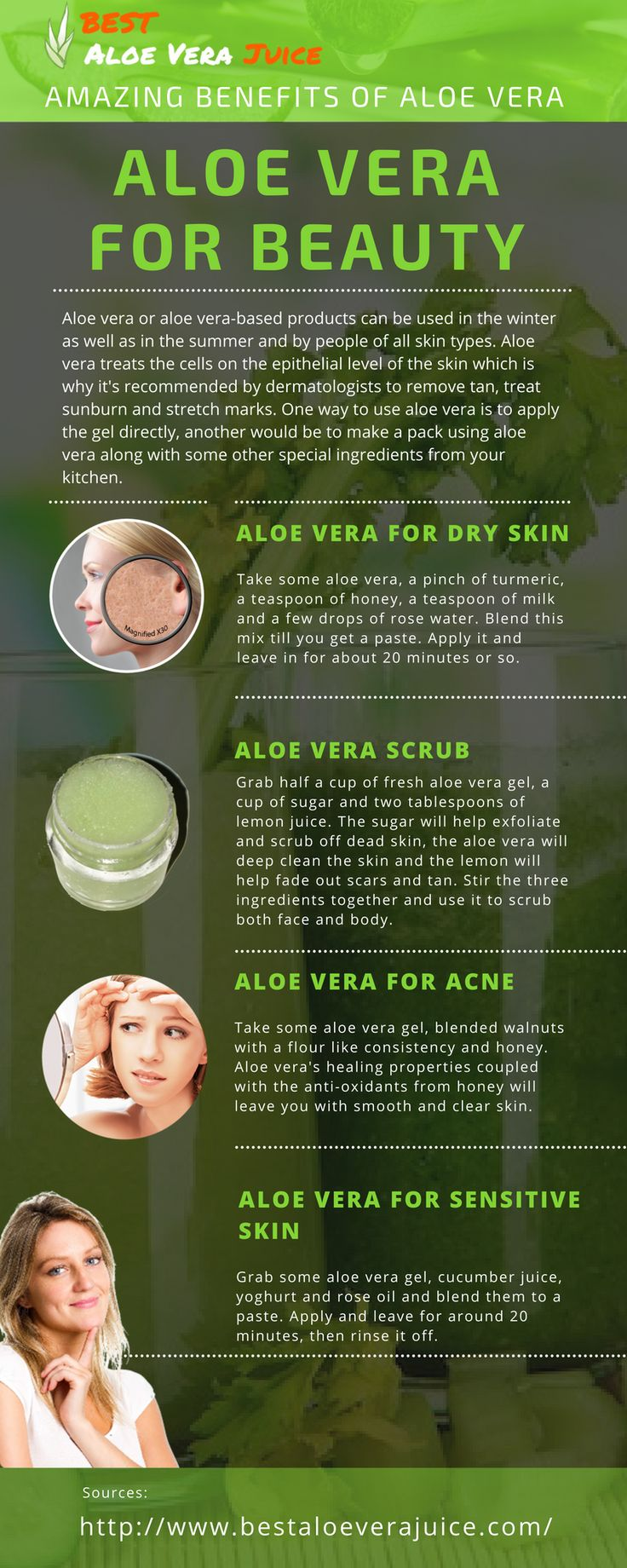 Aloe Vera is extensively used in beauty products and for good reason. It's got antiviral and antibacterial properties, and the ability to help treat every