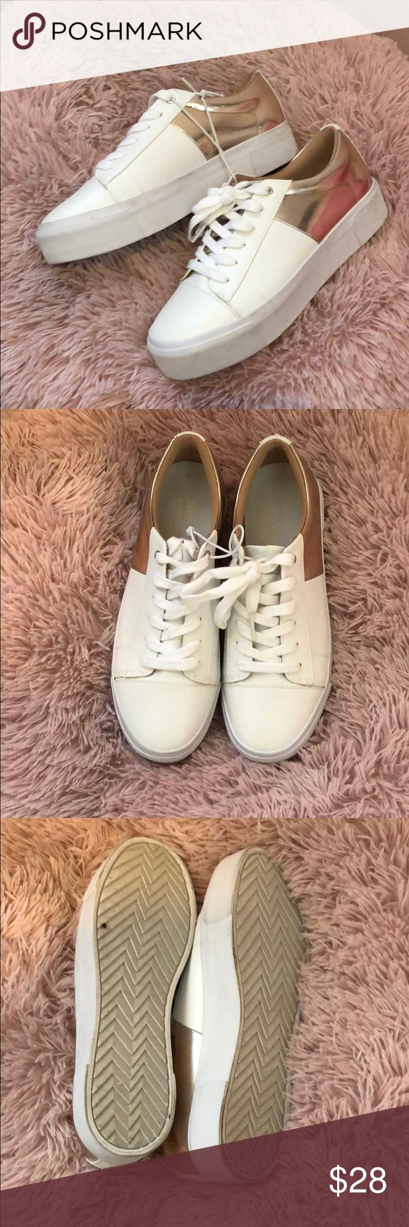 "Marc Fisher ""XENA"" rose gold platform tennis shoe New no box. Leather and rose gold platforms. Trendy and versatile. Super comfortable. Size 7.5 women's. Marc Fisher Shoes Platforms"