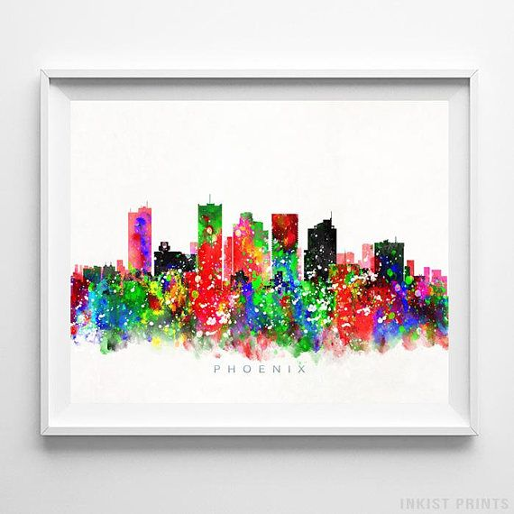 Phoenix, Arizona Watercolor Skyline Wall Art Poster - Prices from $9.95 - Click Photo for Details - #skyline#watercolor#cityscape#bedroomdecor#Phoenix #Arizona
