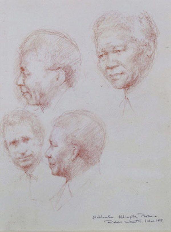 Robbie Wraith 'Nelson Mandela and HRH Prince Charles' sanguine drawing