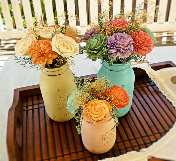 Wedding Centerpiece Flowers by CuriousFloralCrafts, Mason Jars by BeachBlues on Etsy