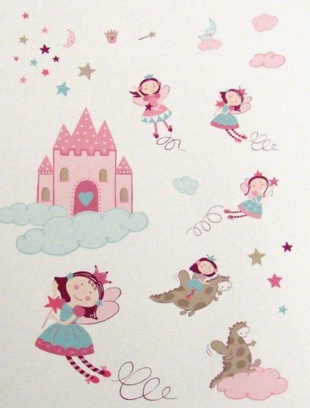 Stickers para pared y muebles de princesas de la marca for Pegatinas habitacion infantil