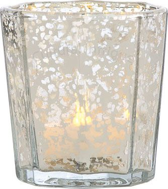 Silver mercury glass candle holder flat edge design for Flat candle holders