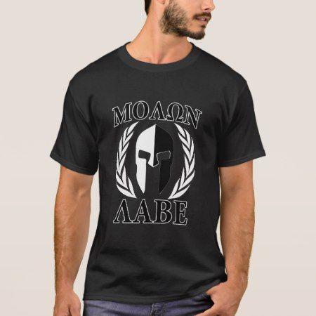 Molon Labe Spartan Helmet Laurels Charcoal T-Shirt - tap, personalize, buy right now!