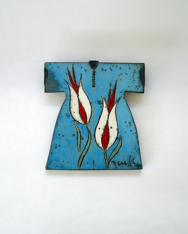 Raku Fired Turquoise Ceramic Caftan with White by derinmavibodrum