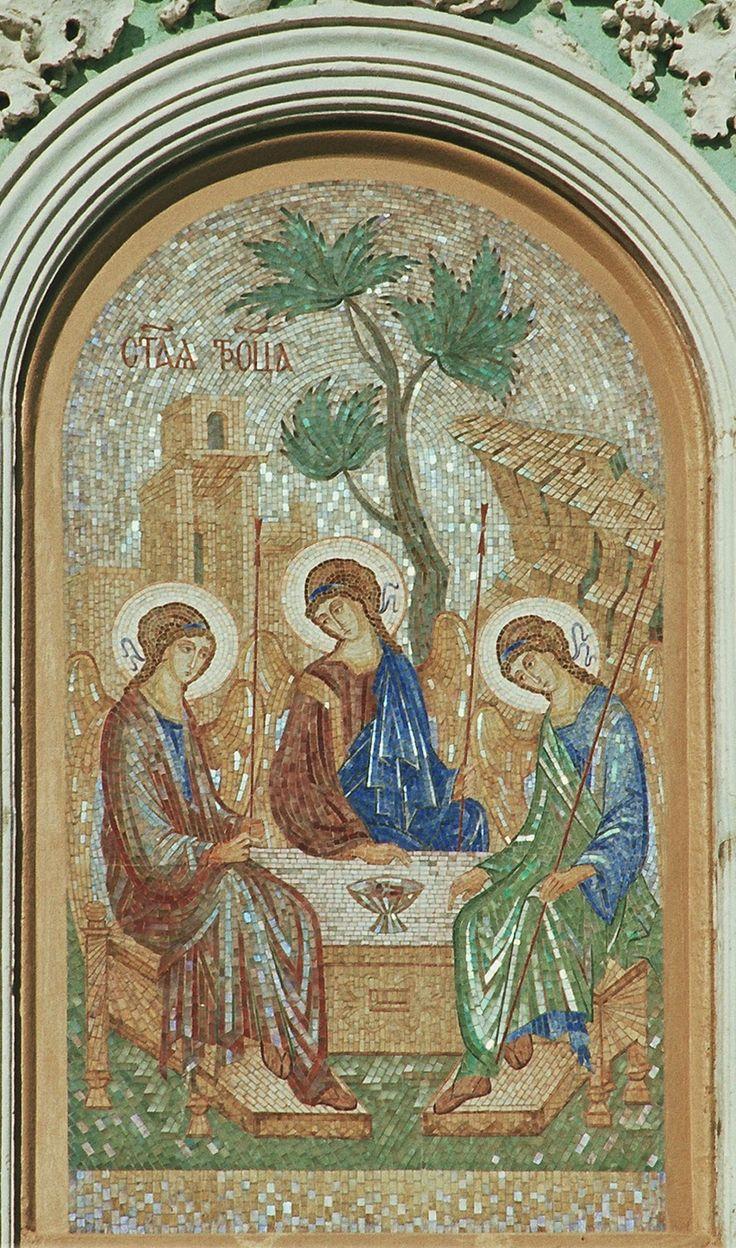 """Флорентийская и римская мозаика - только камень...: """"Троица"""" римская мозаика на """"Святых Вратах"""" Троицк..."""