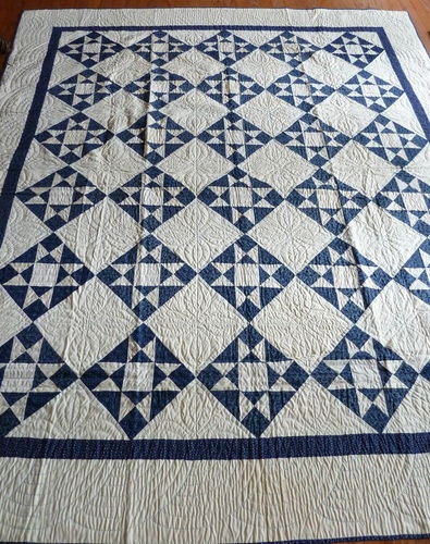 Blue and White Ohio Star Quilt: Vintage Quilts, Blue White Quilts, Ohio Star Quilts, Stars, Blue Quilts, Blue And White Quilts, Antique, Quilts Blue