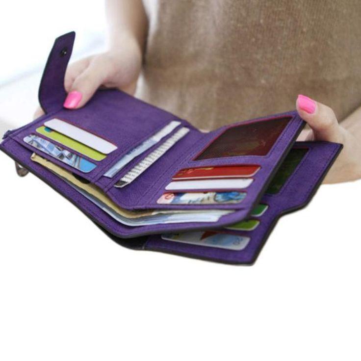 Новый кошельки кошельки женщины мини молоть Магия двойные кожаный бумажник короткий карты держатель 1шт