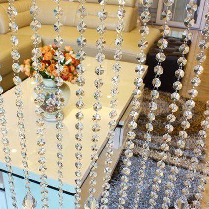 Mohoo 33 FT Hochzeit DIY Crystal Clear Acrylic Bead Garland hängende Partei Dekor Versorgung Perlenvorhänge