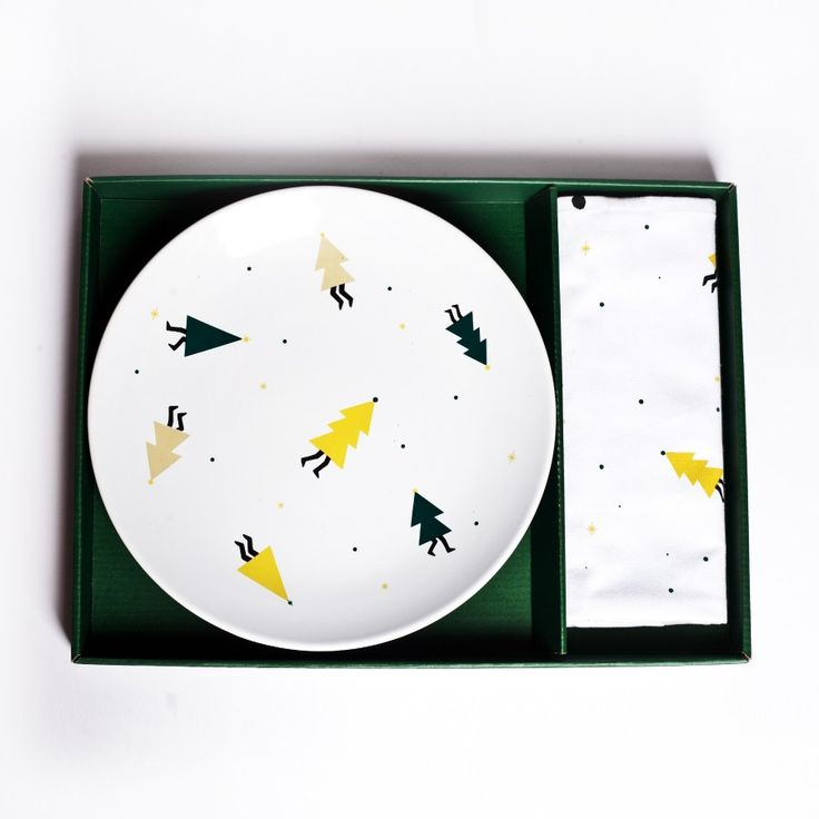Party Pines Plate + Tea Towel Gift Set.  A perfectly giftable set of a matching serving plate + tea towel embellished with friendly dancing pine trees! The quintessential plate to serve Christmas apps or leave cookies waiting for Santa!