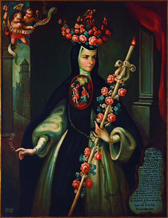 """Jorge Sánchez Hernández, """"La monja florida"""", serie de retratos de sor Juana Inés de la Cruz, óleo sobre tela, sin medidas, colección particular (Familia Trauwitz, México), siglo XX catalogación: Juan Carlos Cancino."""