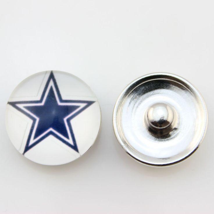 USA Football Team Dallas Cowboys Snap Button Glass Sports Button Snaps Charms Fit For Snaps Bracelets 20PCs/lot
