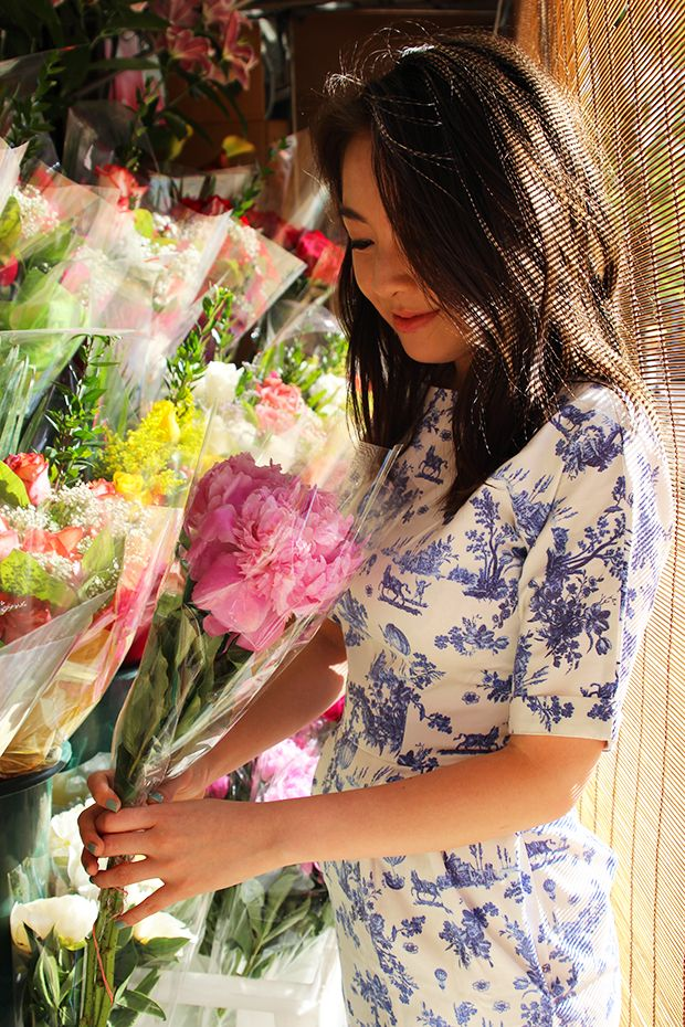 Toile Dress and Pink Peonies