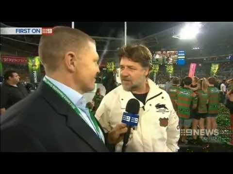 ▶ Rabbitohs Win - Russell Crowe Full Interview Nine News [HD] - YouTube