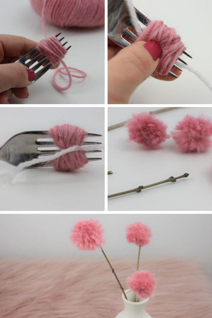 Aus Pompoms Werden Kleine Deko Blumen Gebastelt In 2020 Spring Diy Diy Crafts To Do Flower Decorations