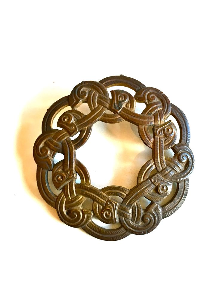 Gustav Gaudernack design for own workshop. Cast bronze brooch in dragon style. Prototype from wax model. ca 1905-1914