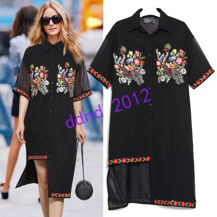 Women Ladies Casual Embroidery Rivet Half Sleeve Loose T-Shirts Long Dresses