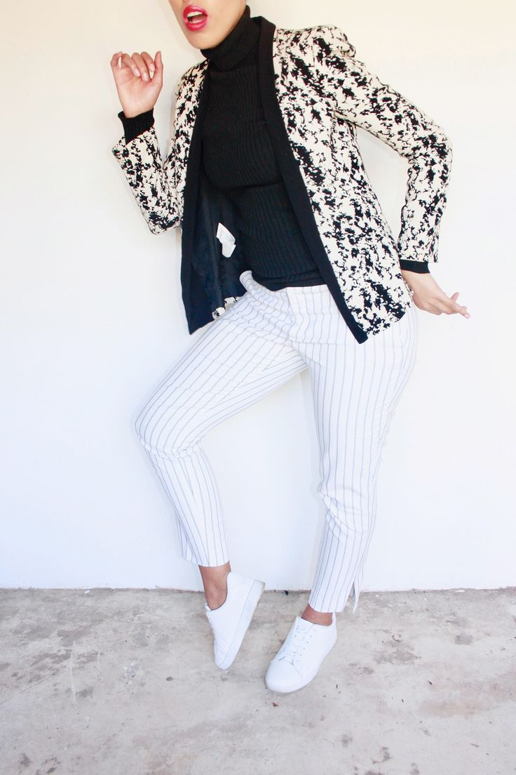 Blazer, turtleneck, Striped pants, white sneakers outfit, winter outfit idea