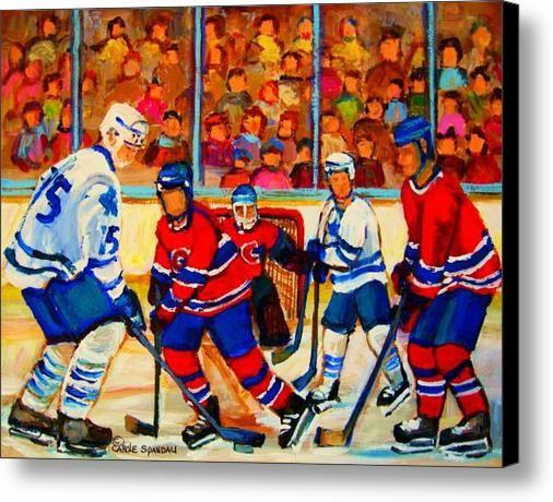 Olympic  Hockey Hopefuls  Painting By Montreal Hockey Artist Carole Spandau Canvas Print / Canvas Art By Carole Spandau