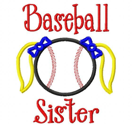 Baseball Sister -Baseball Applique - Machine Embroidery Design -  7 sizes on Etsy, $4.50